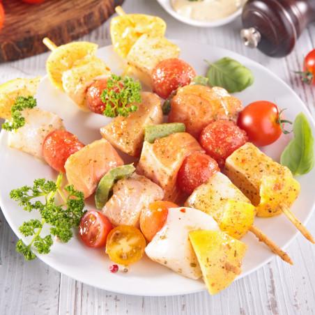 Brochette saumon cabillaud